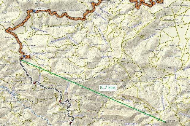 distancia entre puertomingalvo y penyagolosa en línea recta 10,7 kilómetros