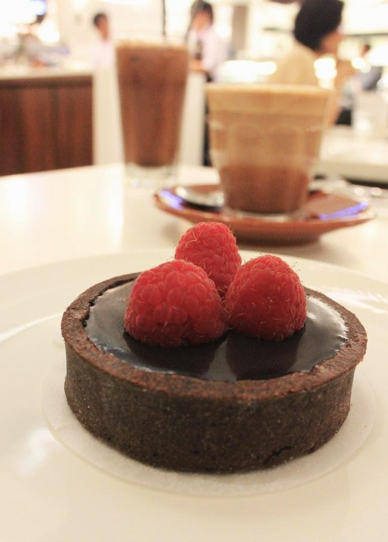 Double Chocolate Valrhona Tart with raspberry