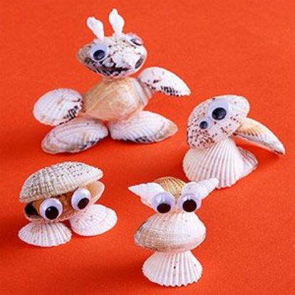 shell animal creatures craft for kids