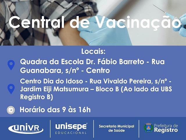 Secretaria de Saúde implanta Central de Vacinação em dois endereços