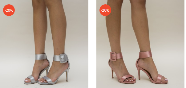 Sandale elegante roz, argintii din satin cu toc inalt