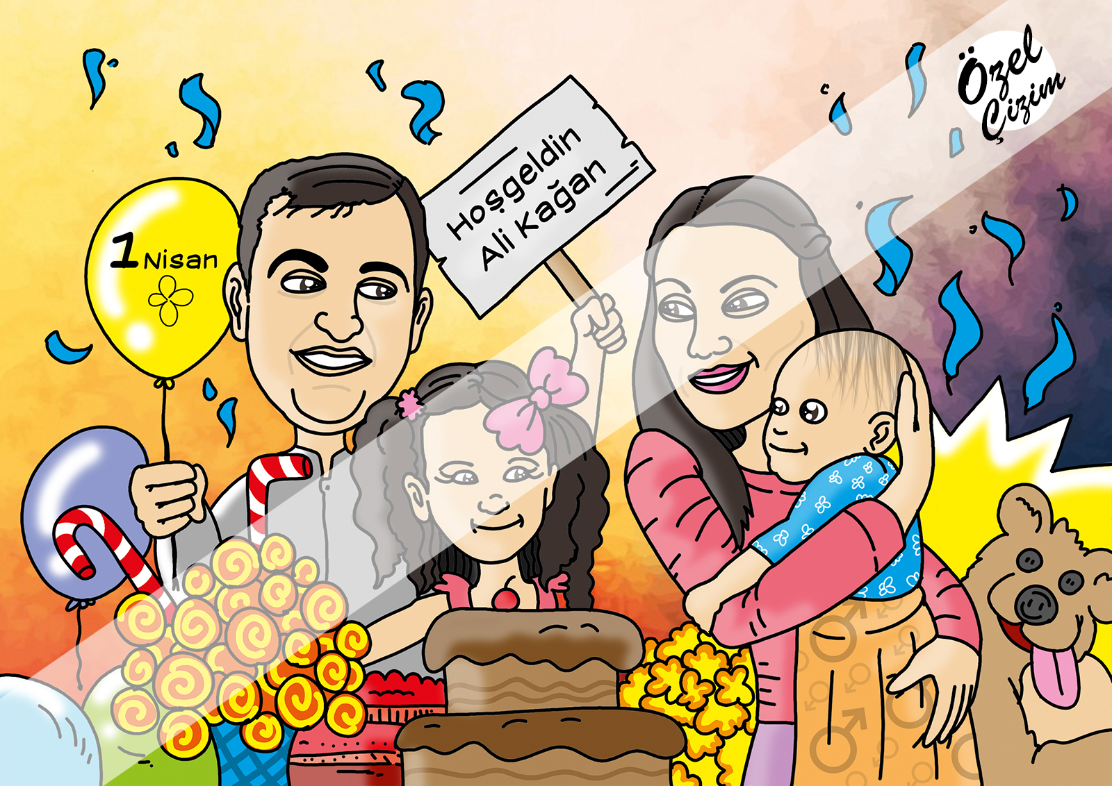Özel Çizim, aile karikatürü, Doğum günü hediyesi, komik hediye, Hediye Karikatür, karikatür portre, eşinize hediye, komik doğum günü hediyesi, Karikatür Çizimleri, Hamilelik hediyesi