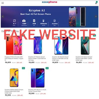 Fake website Ezeephone|4499 Krypton Smartphone Fake?| Be Aware