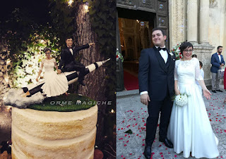 sposi personalizzati decorazioni torta sposa occhiali ritratti sposi originali per torta orme magiche