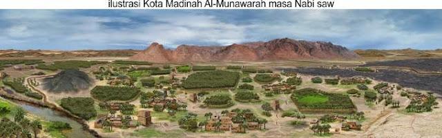 ilustrasi gambaran kota madinah masa rasulullah