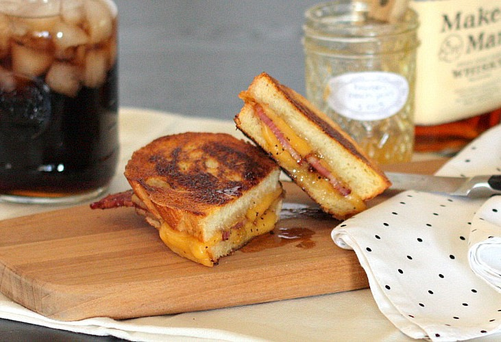 bacon grilled cheese peach jam