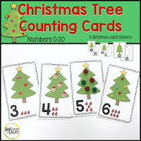 Christmas Tree Counting Cards, number recognition, number order, Counting, One-to-One Correspondence, www.JustTeachy.com