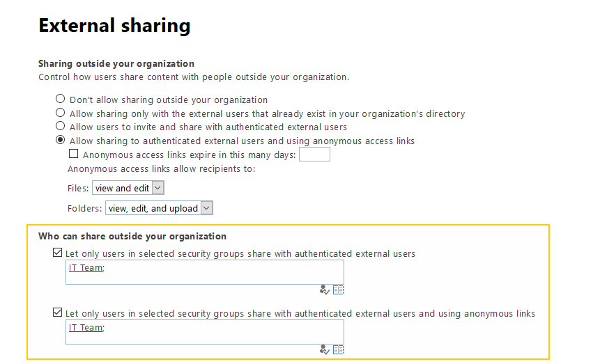 sharepoint online classic external sharing settings