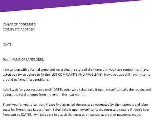 Formal Complaint Letter to Landlord