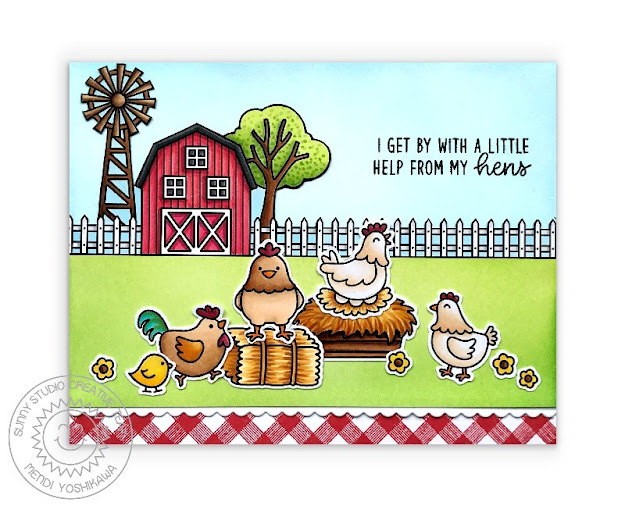 Sunny Studio Barn & Windmill with Chickens Punny Red Gingham Handmade Card (using Farm Fresh, Barnyard Buddies, Background Basics Stamps & Slimline Basic Border Dies)