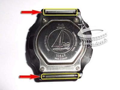 pasang kembali pin pengait pada arloji Q&Q agar tidak hilang