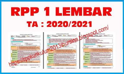 Format RPP 1 Lembar Tahun Ajaran 2020-2021