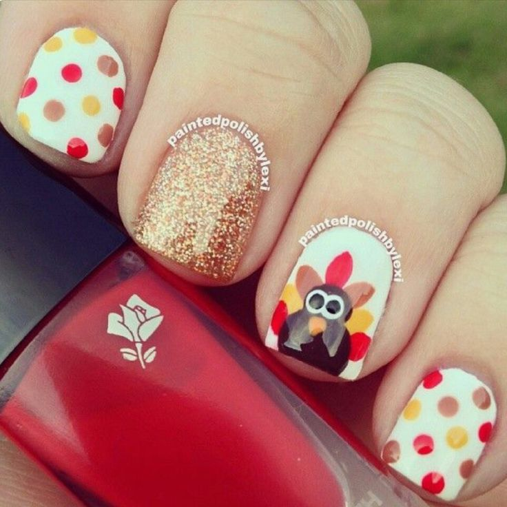 Fun and easy thanksgiving day nail art ideas turkey wit a hint of glitter and lots of polka dots nail art prinsesfo Images