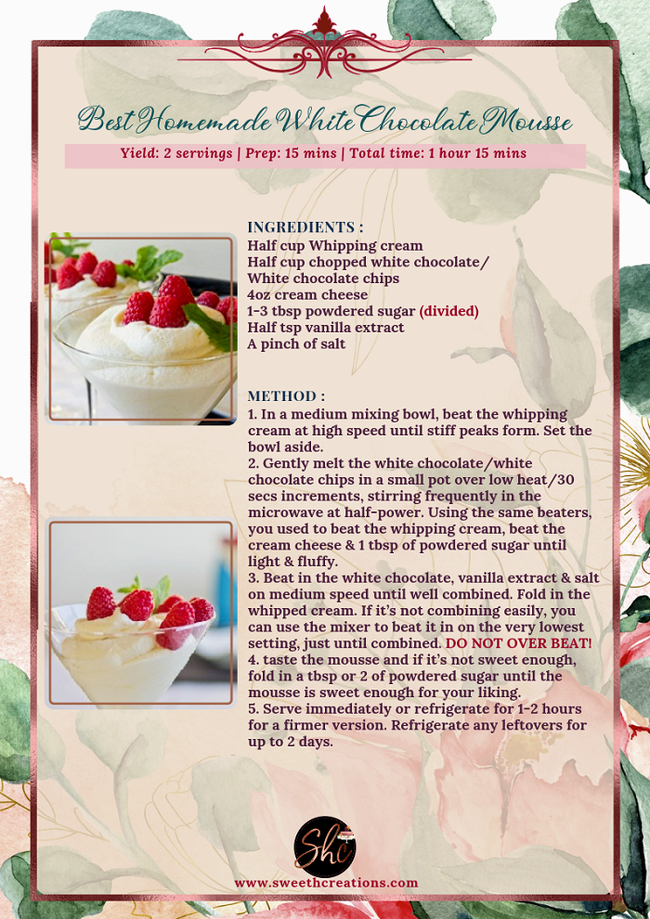 BEST HOMEMADE WHITE CHOCOLATE MOUSSE RECIPE