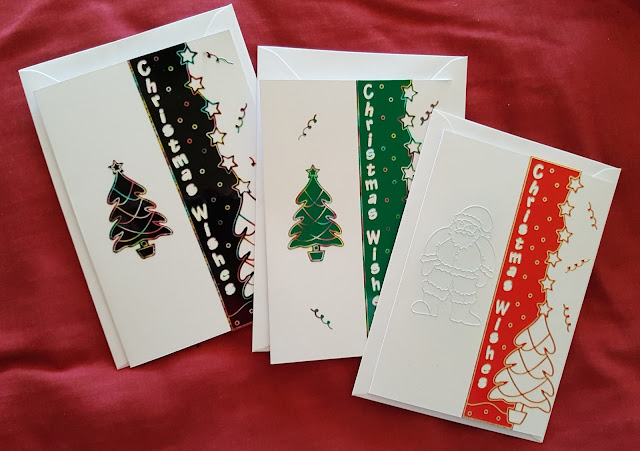 Trio of Christmas Tree C6 cards - very quick and easy to make