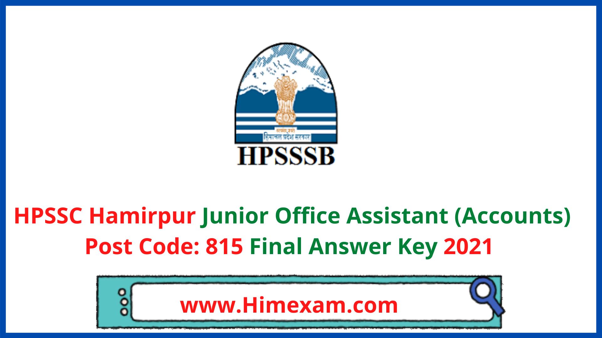 HPSSC JOA Accounts Post Code 815 Final Answer Key 2021