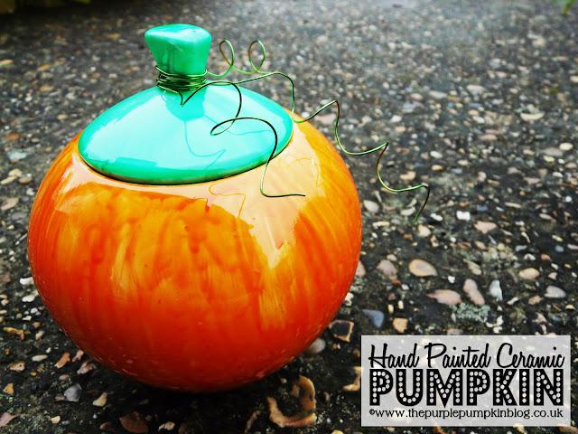 ~Hand Painted Ceramic Pumpkin {Crafty October} at The Purple Pumpkin Blog~