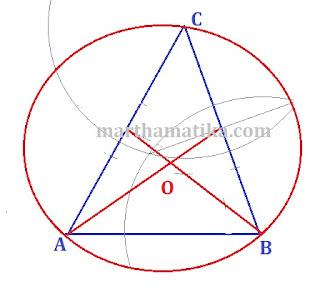 Cara dan Langkah Melukis Lingkaran Luar Segitiga dengan Jangka