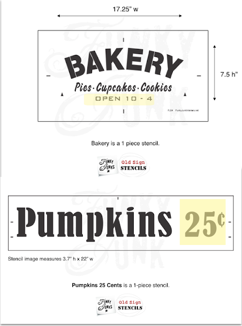 Photo of two Old Sign Stencils, Bakery, and Pumpkins 25 cents.