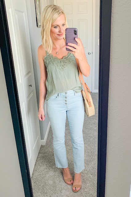 Green lace cami with cropped jeans and block sandals