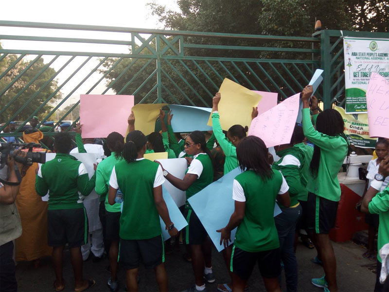 Happening now! Super Falcons protest in Abuja over non-payment of allowances (photos)