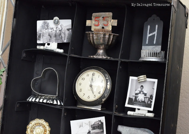 how to display vintage treasures in an old carrying case