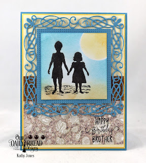 Our Daily Bread Designs Stamp Set:Brother in Christ, Custom Dies:Flourishy Frame, Paper Collection: By The Shore