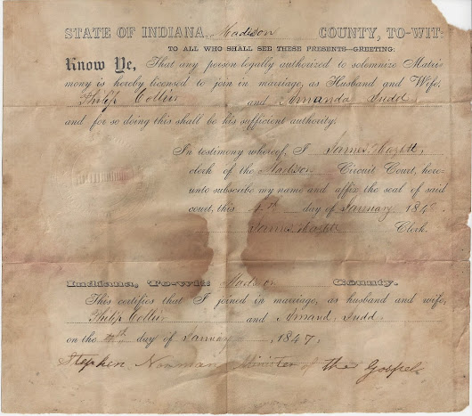 The Philip Collier and Amanda Judd Marriage Certificate...A Long and Winding Road