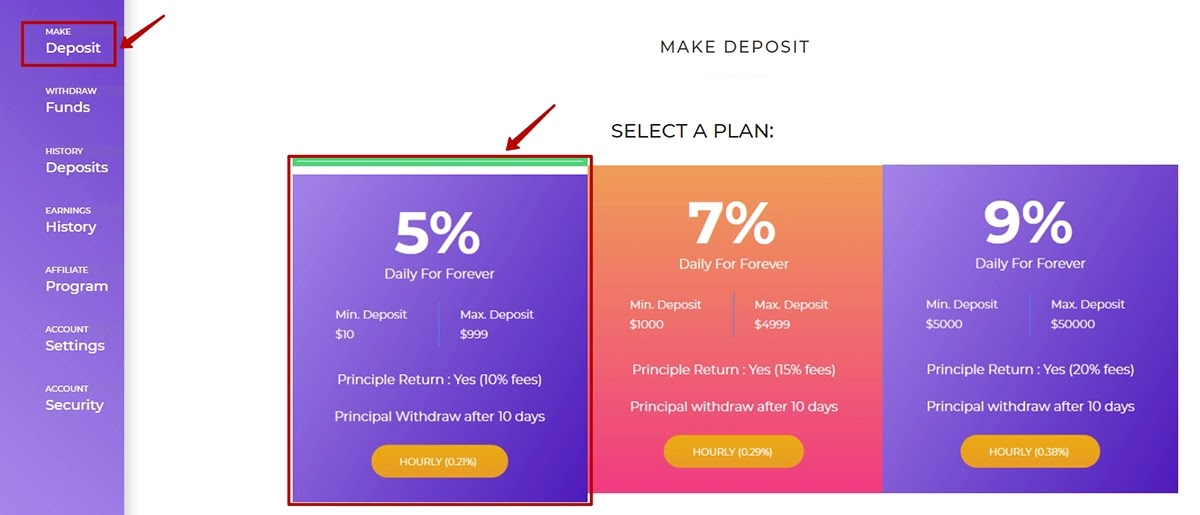 Создание депозита в Bitliner