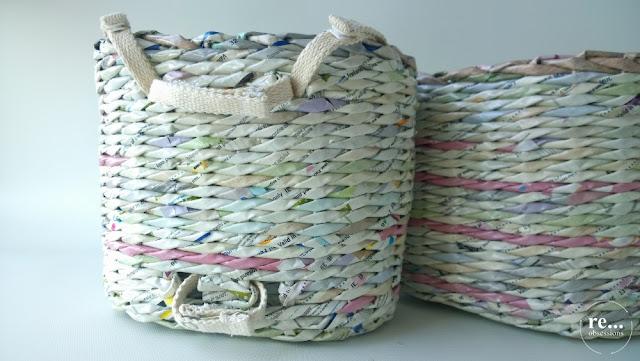 papierowa wiklina, koszyk, handmade, recykling, wicker paper, basket