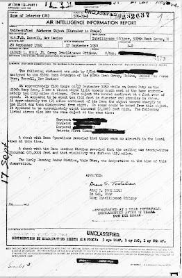 UFO Sighted Over Walker Air Force Base, Roswell New Mexico - Air Intelligence Report  9-17-1950