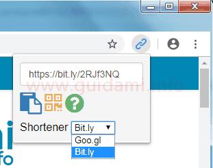 Pulsante e menu estensione Url Shortener per Chrome