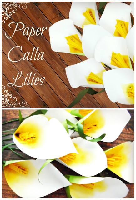 Paper flower calla lilies with templates and tutorial. DIY paper flowers by Abbi Kirsten
