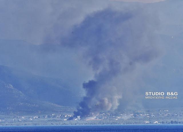 Μεγάλη πυρκαγιά στο Άστρος Κυνουρίας - Οι πυκνοί καπνοί φαίνονται από το Ναύπλιο
