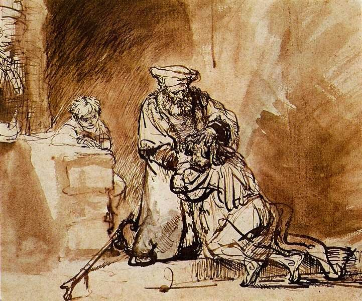 http://en.wikipedia.org/wiki/File:Prodigal_son_by_Rembrandt_%28drawing,_1642%29.jpg