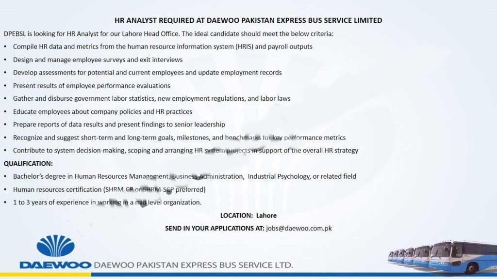 Daewoo Pakistan Express Bus Service Ltd DPEBSL Jobs in Pakistan For HR Analyst Post Latest Advertisement