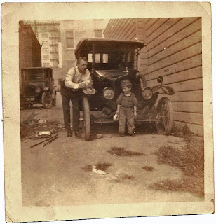 Sam Bean as child with Bob Grant Alameda CA 1926 car repair of Ford