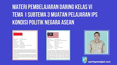 Materi IPS Kelas VI Tema 1 Subtema 3 - Kondisi Politik Negara ASEAN