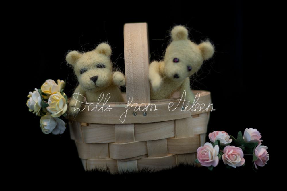 OOAK mini needle felted teddy bears in basket