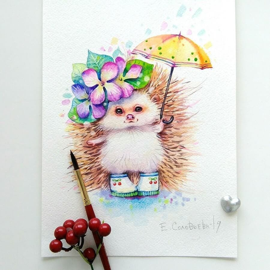 09-Hedgehog-in-Boots-Evgeniya-Solovyova-Fantasy-Animals-Watercolor-Paintings-www-designstack-co