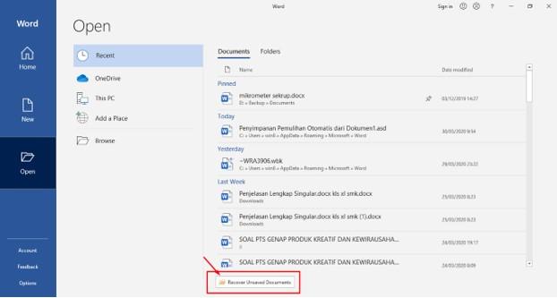 Cara Mengembalikan File Word 2016 Yang Lupa di Save