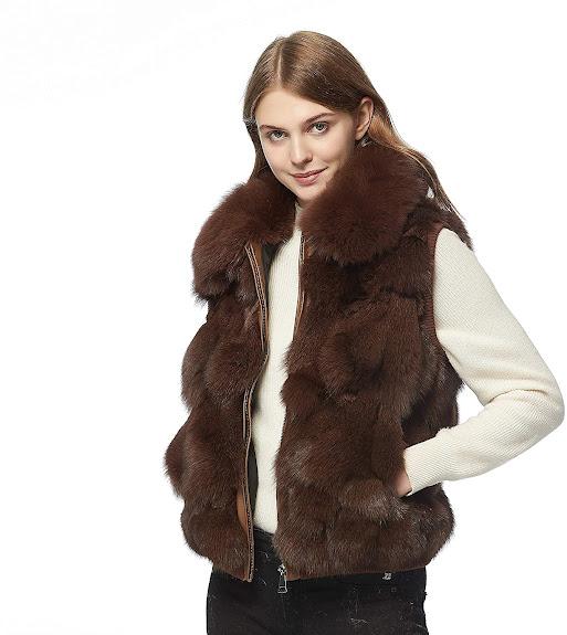 Elegant Brown Faux Fur Vest For Women