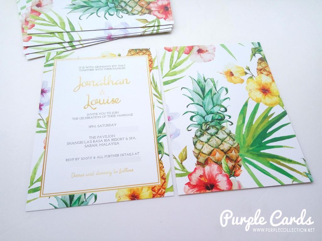 Summer pineapple wedding card