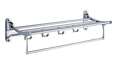 Fortune Platinum Stainless Steel Folding Towel Rack with Chrome Finish for Bathroom