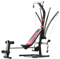 "Bowflex MY17 PR1000 100661 Home Gym, with 5-210 lbs of progressive power rod resistance, built-in rowing station, horizontal bench press, triple function handgrips for lat pull downs, 4"" upholstered rollers for leg extensions and leg curls"