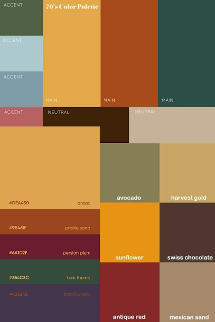 collage of warm-toned colour palettes