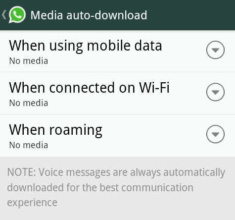 Disable WhatsApp Auto-download