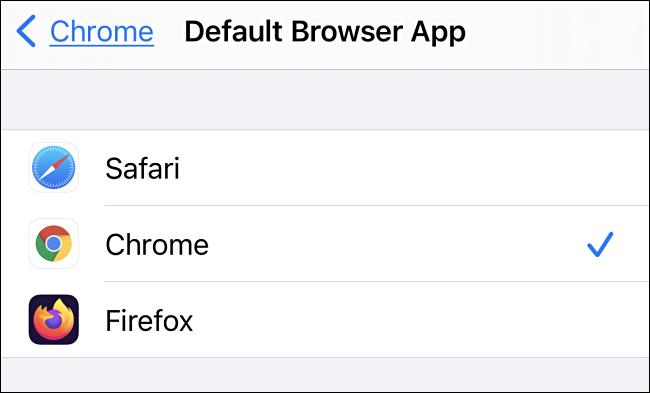في إعدادات تطبيق المتصفح الافتراضي على iPhone ، انقر فوق تطبيق المتصفح الذي ترغب في استخدامه.