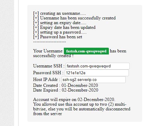 Membuat akun SSH