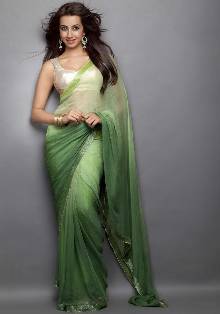 Sanjana Long Hair Stills In Transparent Green Saree